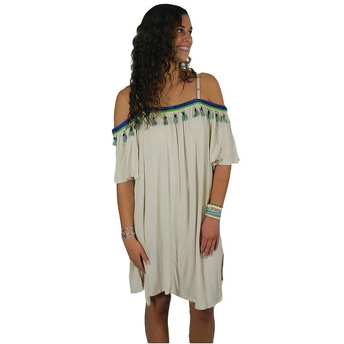 off white beach cover up/dress with fringe detail