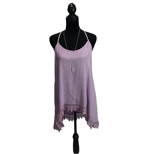 lilac racer back tank with lace detail