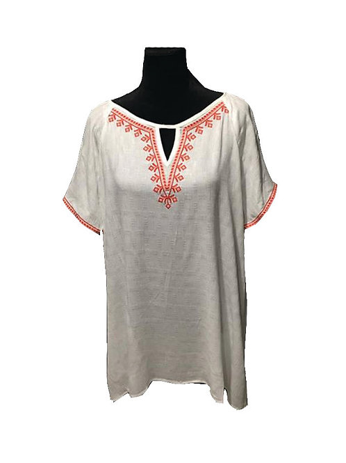 Plus size white short sleeve top with red embroidery detail