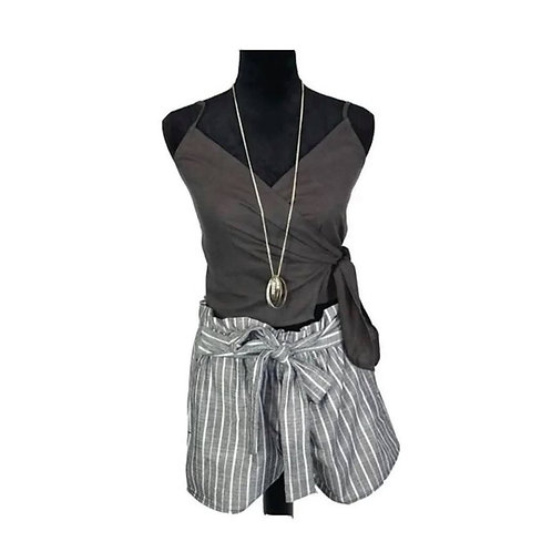 Grey striped shorts and charcoal wrap top size large