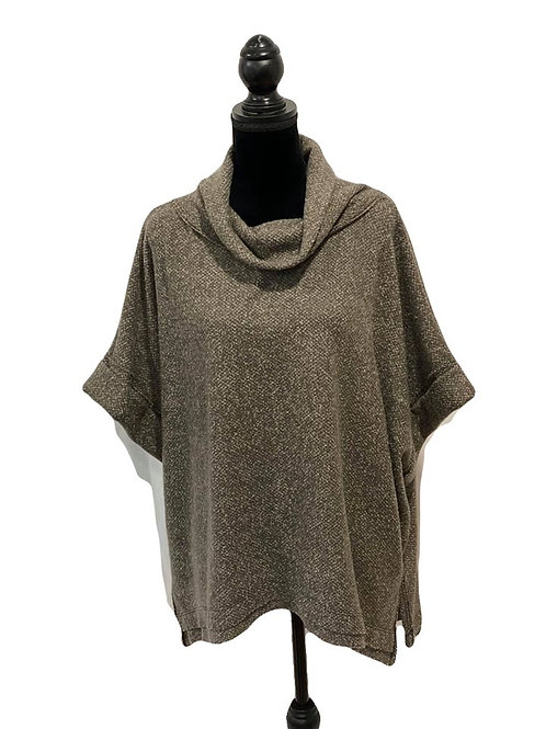 Mocha, cowl neck, mid length sleeve top