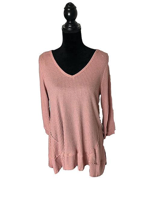 Dusty pink, long sleeve, waffle knit top
