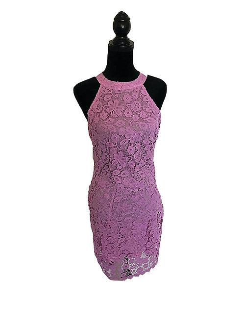 lavendar lace halter dress