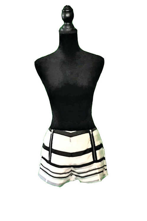 Striped dressy shorts with double zipper detail (XS available)