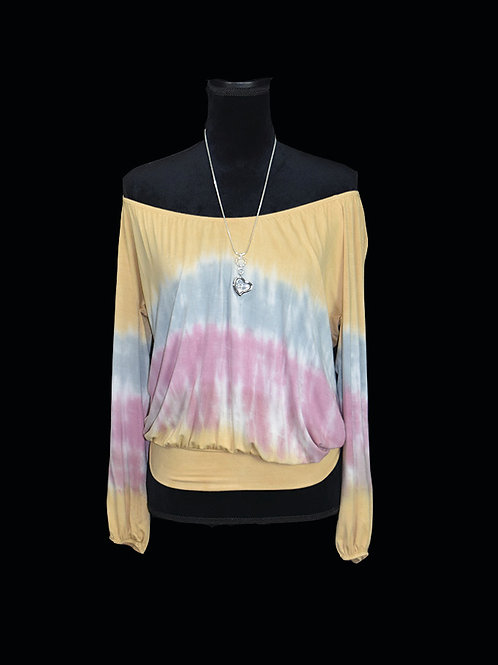 off shoulder tie dye peasant top w/ banded hem
