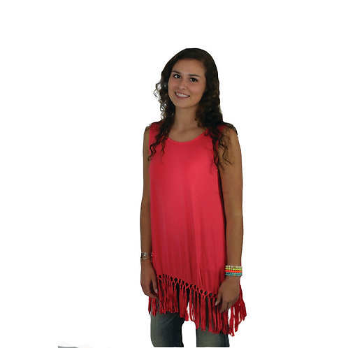 Strawberry colored tank with fringe