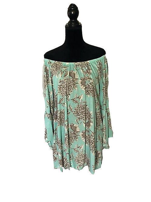 Plus mint floral print bell sleeve off shoulder tunic top