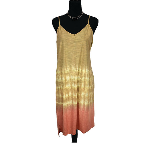 taupe & mauve tie dye and dipped tank dress w/ lace up back detail