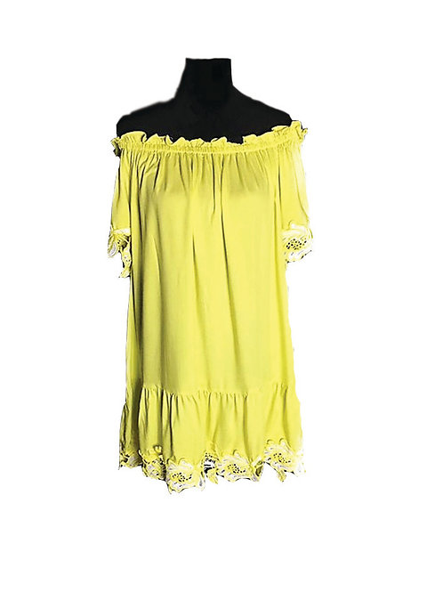 Yellow off the shoulder dress with scalloped lace trim
