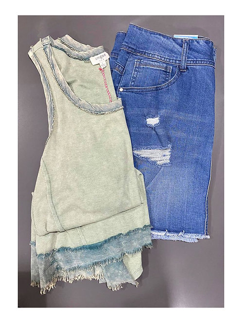 Sage 2 toned tank and denim skirt