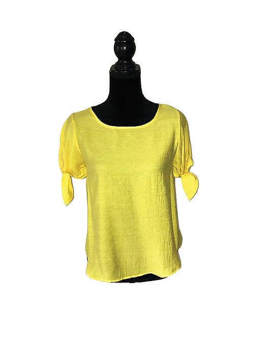 Yellow top with tie short sleeves