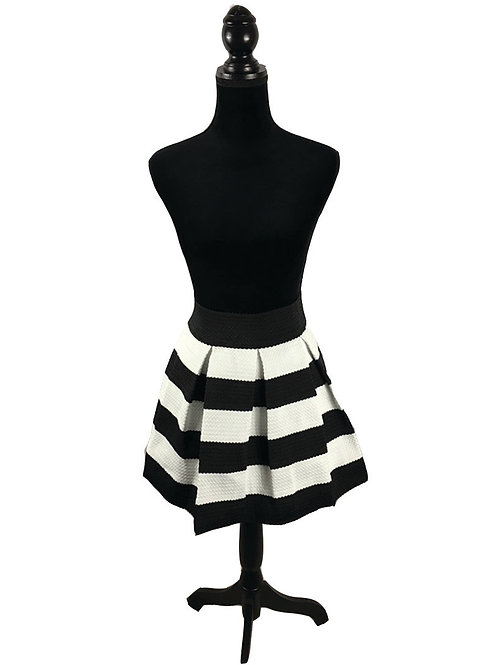black and white, wide striped skirt