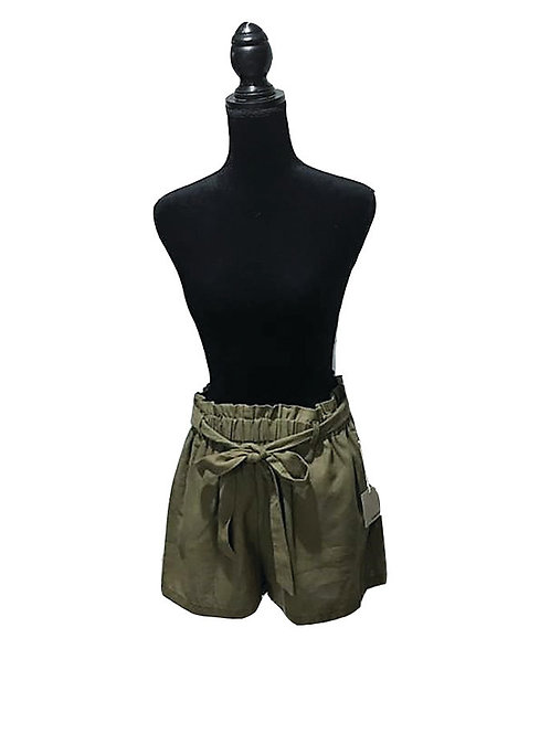 plus sized olive shorts with bow tie waist