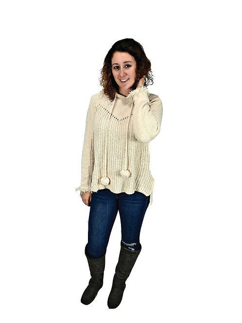 cream knit hooded pullopver sweater w/ pom pom drawstring
