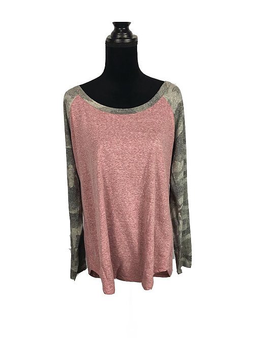 burgundy raglan top with camo sleeves