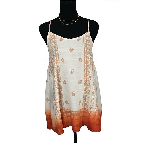 "ivory & orange tones tank with print & ""T"" strap detail in back"