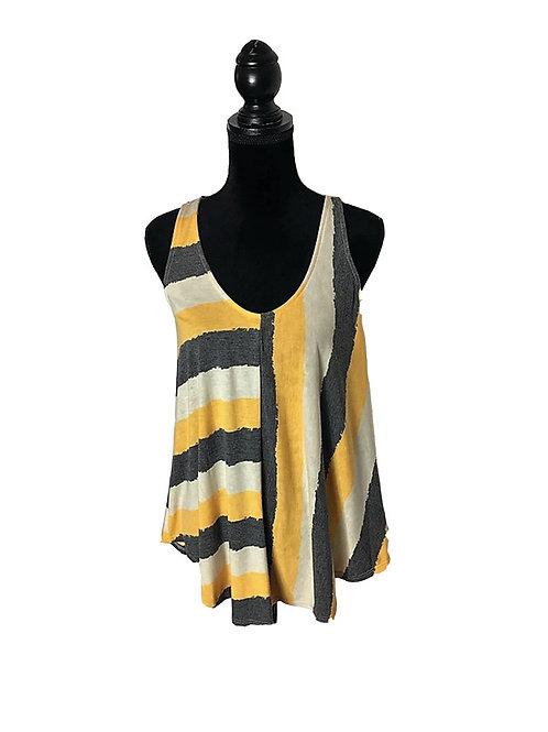 Mustard, grey & white asymmetric stripe pattern tank top