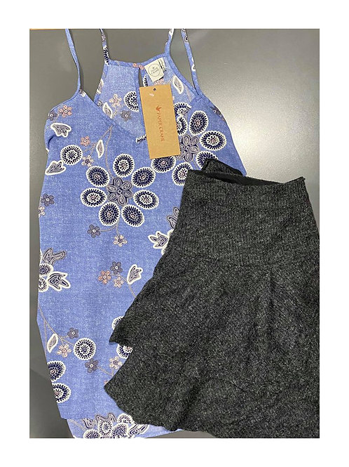 Floral Tank and Charcoal Ruffle Skirt size large