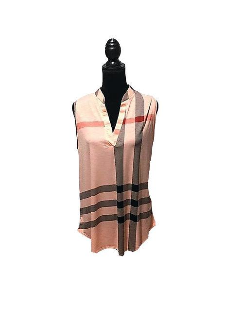 Plus size blush, plaid, sleeveless top