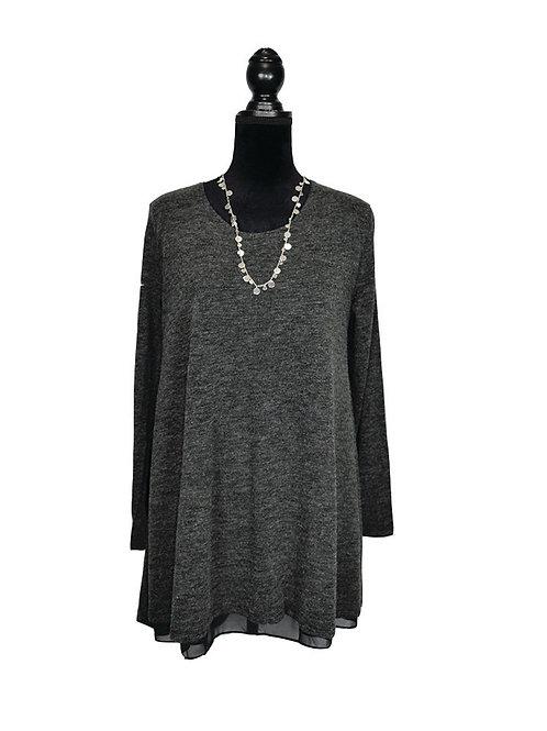 plus size, black long sleeve layered flared tunic