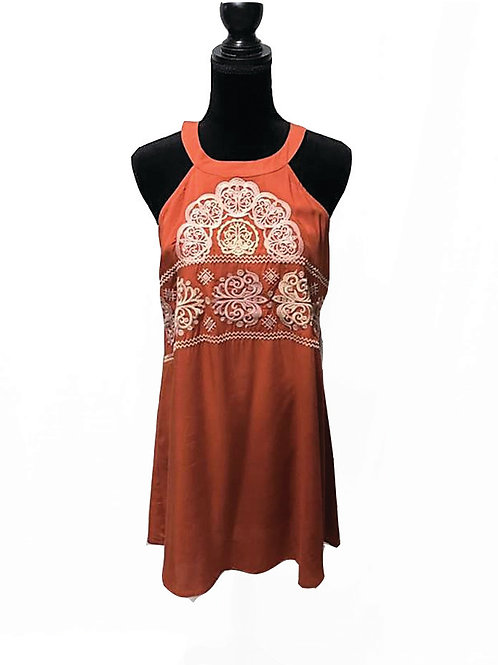 rust high neck embroidered shift dress