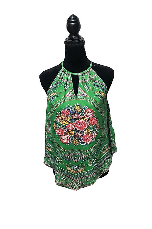 green halter style top with print