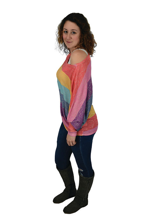 multi color stripe, one shoulder, dolman sleeve top