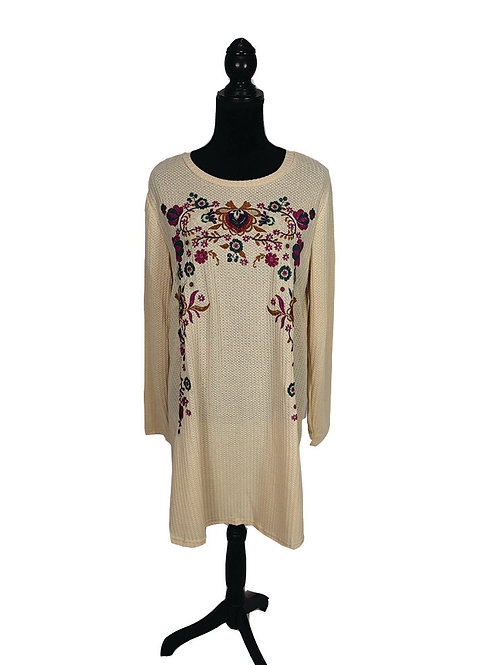 Plus size, tan, floral embroidered long sleeve waffle knit dress
