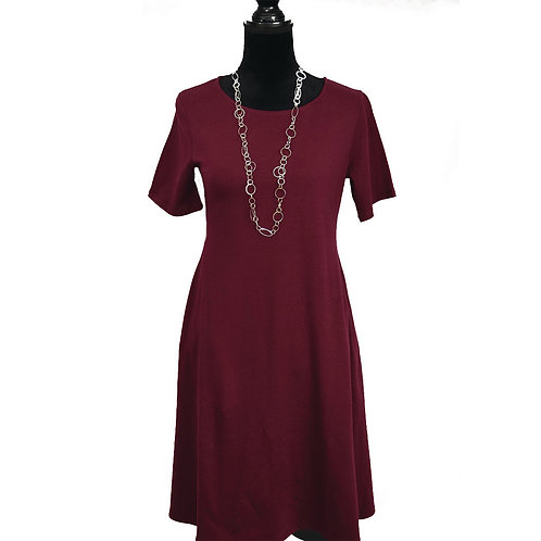 dark burgundy a-line dress with pockets