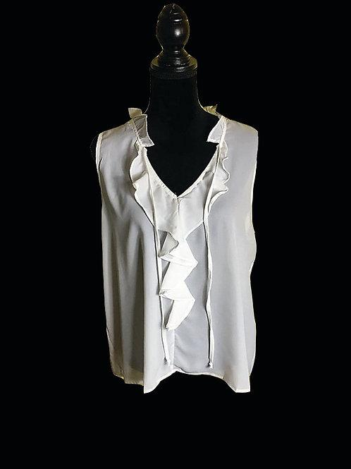 White ruffle front, tie neckline, sleeveless blouse