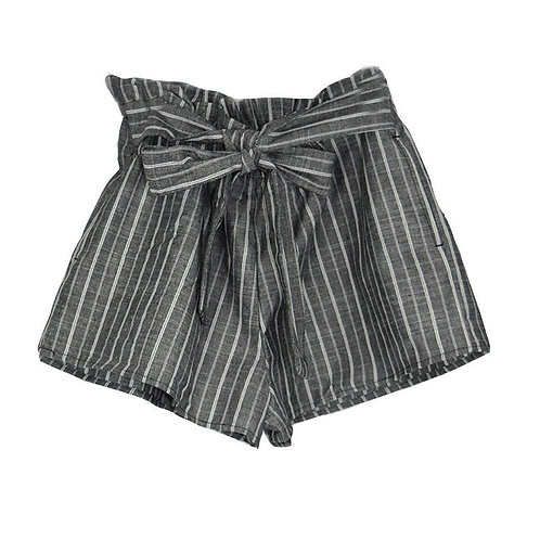 grey shorts with white pinstripes