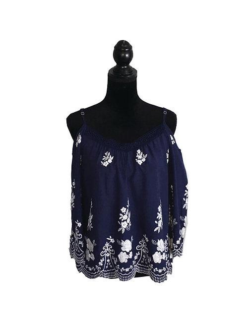 navy open shoulder, floral emroidered top