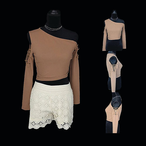 camel colored one shoulder crop top w/ lace detail