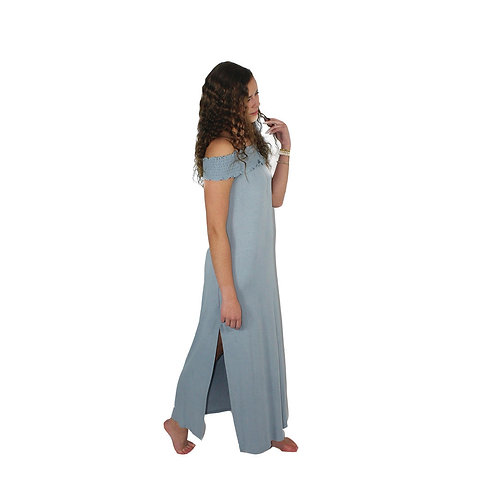 light blue off the shoulder maxi