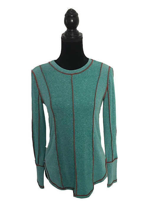 Teal long sleeve top with reddish piping