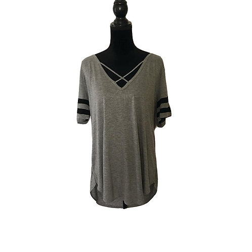 Plus size grey t-shirt with black stripes and criss cross neckline