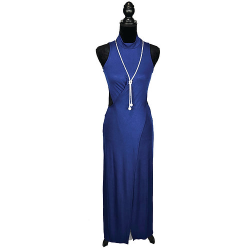 long navy sleeveless dress with cut outs