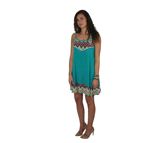 Teal dress with multi colored print detail