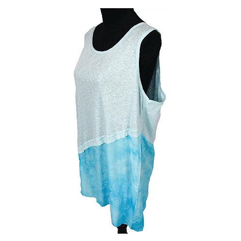 sky blue two tone sleeveless top w/ asymmetrical hem
