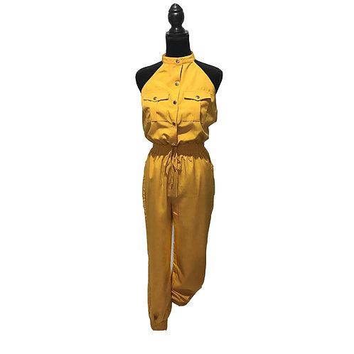 mustard sleeveless jumpsuit with elastic waistband & cuffs