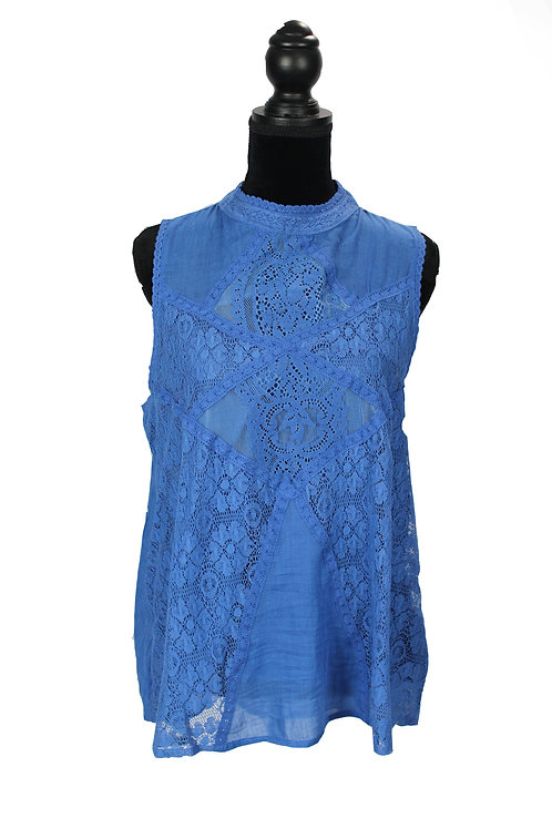 blue lace sleeveless top