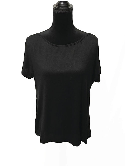 black open back, short sleeve top with strappy back detail