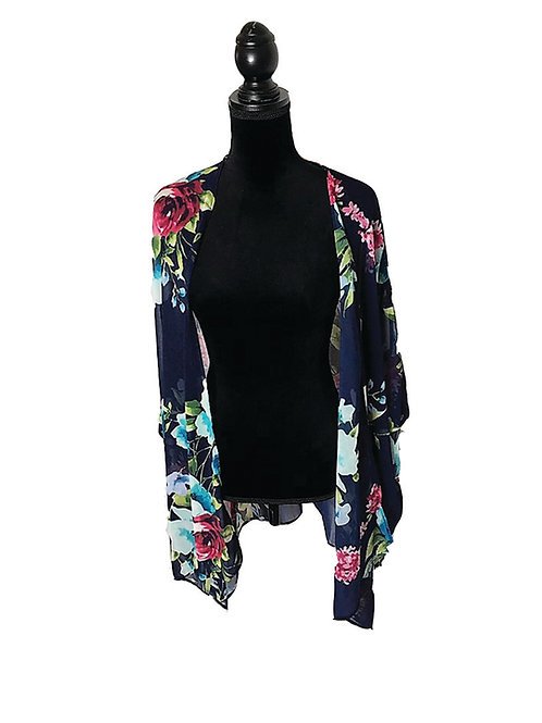 Sheer navy floral kimono