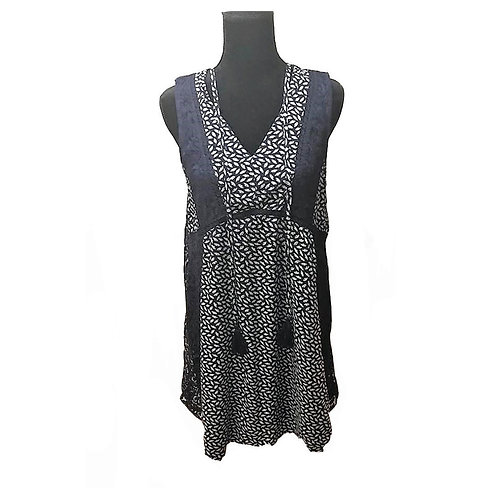 Navy print sleeveless Boho style dress