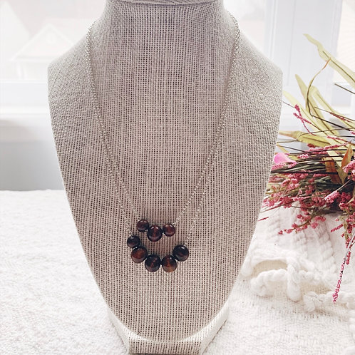 Dainty double dark brown bead and silver