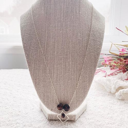 Dainty silver dark brown bead w/charm