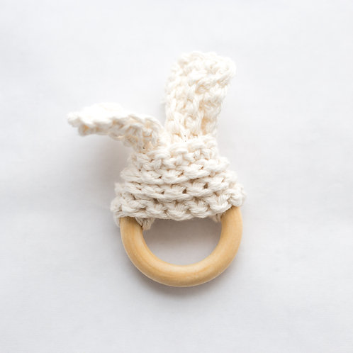 White Cotton and Wood Bunny Teether