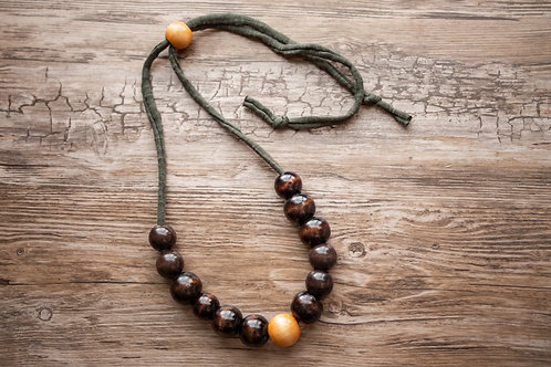 Muted Deep Green and Chocolate Necklace