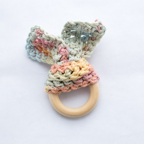 Muted Rainbow Cotton and Wood Bunny Teether