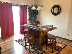 Dining room with sliding door